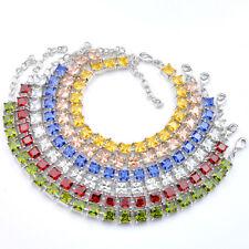 Jewelry set Square Rainbow Natural Morganite Topaz Peridot Silver Charm Bracelet