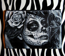 Cosmetic Bag Small Clutch Makeup Case Day of the Dead Sugar Skull Girl Calavera