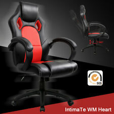 Executive Office Chair Sports Racing Gaming Swivel PU Leather Computer Desk Red