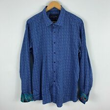 David Smith Mens Button Up Shirt 2XL Slim Flip Cuff Blue Long Sleeve Collared