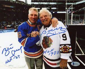 """Brett Hull and Bobby Hull """"HOF 09, HOF 1983"""" Autographed 8x10 Photo - BAS COA"""
