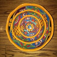 Talavera Pottery Serving Bowls -  Three Nesting Bowl  Set - Ceramic Pottery Bowl