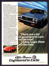 """1983 Alfa Romeo GTV 6/2.5 Coupe photo """"A Lot To Love"""" promo car print ad"""