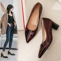 Ladies Patent Leather Mid Block Heels Pump Pointed Toe Casual Office Shoes Plus