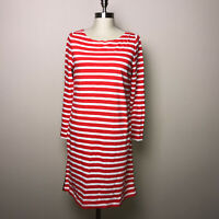 J Crew Striped T-Shirt Dress Red White Stripes Navy Trim Boxy Nautical Small NEW