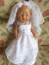 "clothes for 17"" baby born doll "" brides doll outfit"""