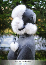Blue FOX Fur Hat Black Aviator Schapka Ushanka Pom Bomber Fliegermütze Fellmütze