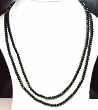 "Black Spinel Gemstone 4 mm Rondelle Faceted Beads 20-32"" Strand Necklace KM4"