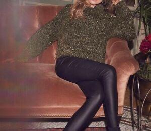ABBEY CLANCY Lipsy Jumper Size 14 Sweater Gold Black Cowl Neck