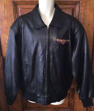 HARLEY DAVIDSON CAFE' NEW YORK Men's Black Leather Bomber Style JACKET, Size XL