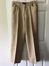 Ashley Stewart Women's Linen Blend Beige Tan Pants Size 12W