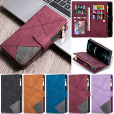 For Samsung S21 S20 S10 A52 A72 A12 A22 A32 A51 Zipper Wallet Leather Flip Case