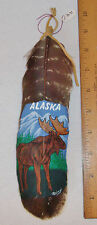 """HANDPAINTED MOOSE W/ALASKA PAINTED ON DOMESTIC FEATHERS - SIGNED BY """"RAINY"""""""