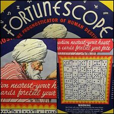 1935 Rare Fortune Telling Predict Wheel Fortunescope Playing Cards Reading Chart