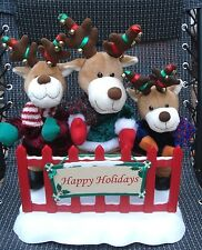 Trio Rockin Reindeer Carolers Musical Animated Christmas Plush-Fen 2004