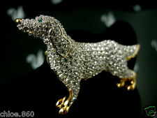 SIGNED SWAROVSKI SETTER DOG PIN~BROOCH RETIRED RARE NEW WITH TAGS