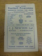 19/04/1965 programma Rugby League: Warrington V Leigh (Rusty Staples bobfranka).