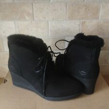 UGG JEOVANA BLACK SUEDE WATERPROOF ANKLE WEDGE BOOTIES BOOTS SIZE US 9 WOMENS