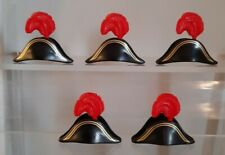 Playmobil 5 hats with red feathers for pirates soldiers captains excellent cond