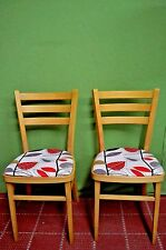 Two 2 Pair Retro Vintage Dining Kitchen Chairs Red Design Freshly Upholstered