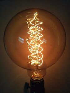 "Simple Vintage G125 Edison Light Bulb E26 60W CLEAR 5"" Globe Spiral"