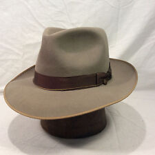Taupe Gray Resistol Fedora Men's Vintage Hat with Brown Band -- Size 7 1/8