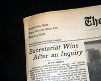 SECRETARIAT WINS Bay Shore Stakes PRE TRIPLE CROWN Horse Racing 1973 Newspaper