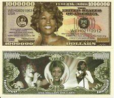 Whitney Houston Commemorative Million Dollar Bills x 2 American Singer Actress