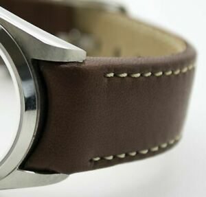 Hirsch MEDICI CURVED ENDED Leather Watch Strap in BROWN. CREAM STITCH 18mm