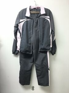 East West Polyester Jacket and pants Track Suit Gray/Pink Sz S