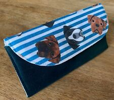 More details for boxer dog glasses case teal velour with a striped boxer flap. padded