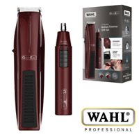 WAHL 5537-7017 GROOMEASE BEARD NOSE EAR TRIMMER PERSONAL GIFT SET - BURGUNDY