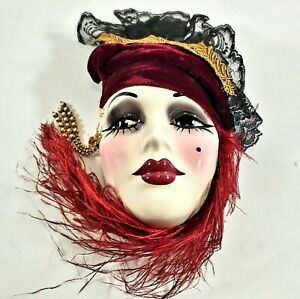 Unique Creations Lady Face Mask Wall Hanging Decor NWT Signed & Numbered