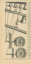 ANTIQUE RINGING BELLS CHIMES CLOCK ST. LAMBERT LEIGE BELL RINGERS OLD ART PRINT