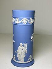 Vintage Wedgwood Blue Jasperware Cylinder Vase Classic Greek Figures