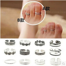 Wholesale 12Pc Women Silver Plated Toe Finger Ring Adjustable Foot Beach Jewelry
