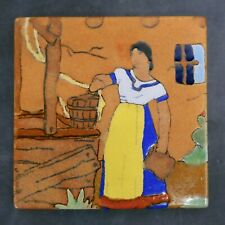 San Jose Mission Vintage Tile Mexican Woman at Well