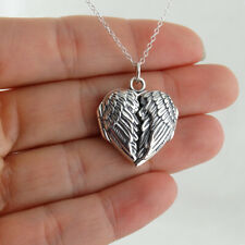 Angel Wings Heart Locket Necklace - 925 Sterling Silver - Love Gift Memorial NEW