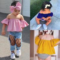 2 piezas VERANO INFANTIL bebe niña hombro descubierto Fruncido Camiseta Blusa +