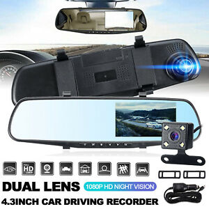 "4.3"" FHD 1080P Car Camera Recorder Dual Front and Rear Dash Cam Night Vision UK"