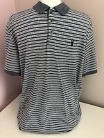 Mens Next Light Grey White Fleck Stripe Polo Top Size XL Regular Fit Cotton