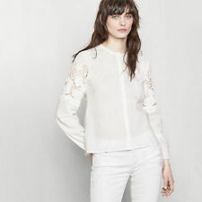 MAJE Lilyrose Embroidered Sleeve Top White Size M Orig. $220 NWT