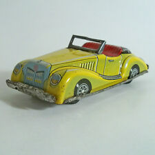 VINTAGE TIN LITHOGRAPHED FRICTION YELLOW MG TF CONVERTIBLE TOY CAR JAPAN 1950's