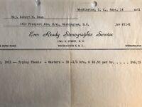 Washington DC Letterhead 1951 Ever Ready Stenographic Service Invoice Receipt