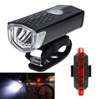 USB LED Fahrradlicht Set Fahrradbeleuchtung Fahrradlampe + LED Fahrrad Rücklicht