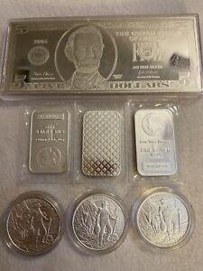 10 Oz Silver Lot Bank Note Morgan Dollors Prospector .999 Bullion Cases Sealed