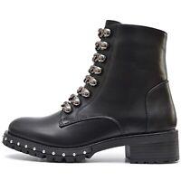 Trend Damen Army Boots Stiefeletten Used Look Nieten Reißverschluss Blockabsatz