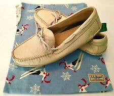 LL Bean Bison Natural Leather Men's Moccasin Slippers Size 11B