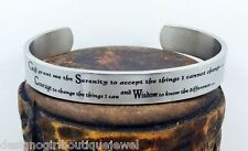 Serenity Prayer Cuff Bracelet Stainless Steel AA 12 Step Bangle Silver Polished