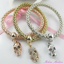 3pce Three Tone Rhinestone Skulls Charm Stretch Popcorn Chain Bracelet Set